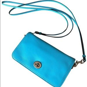 Coach Penny Legacy Blue Leather Cross Body Bag